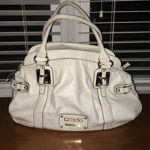 Guess Los Angeles Bag White, Gold Accents Large